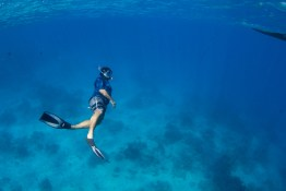 man underwater snorkeling in the ble ocean in Fiji by Anais Photography