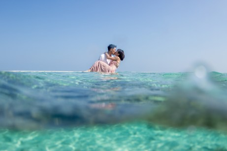 underwater trash the dress at the Malolo sand bar in Fiji