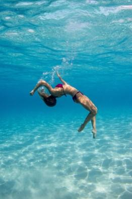 Woman underwater photoshoot in Fiji