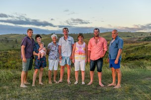 Three generations of family at family vacation photoshoot in Fiji