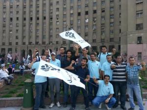 شباب 6 أبريل في ميدان التحرير أثناء أحدى الفعاليات الثورية