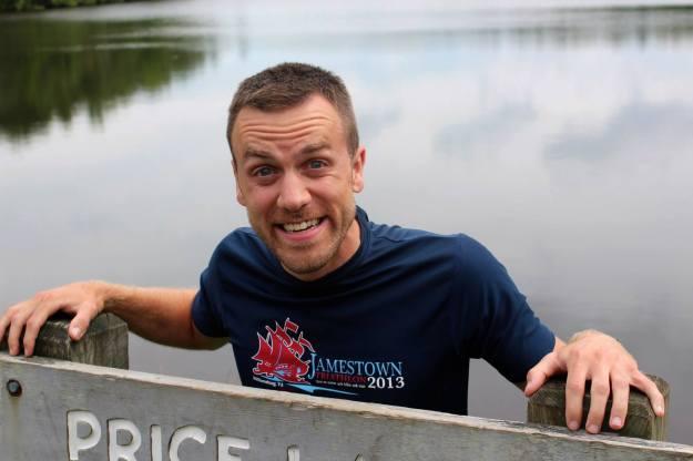 Dave at Price Lake Sign, Blue Ridge Parkway