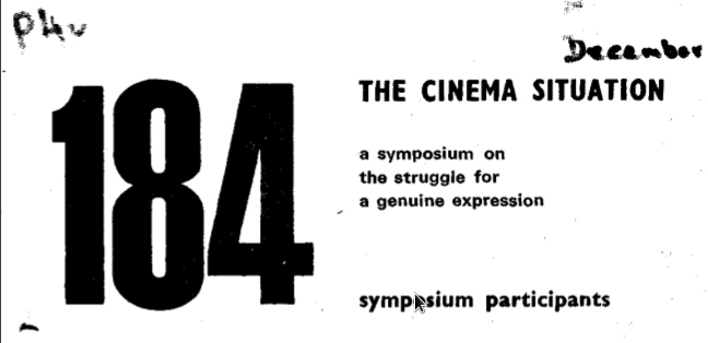 The cinema situation : A symposium on the struggle for a genuine approach