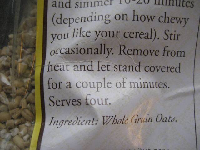 Label showing whole grain oats.