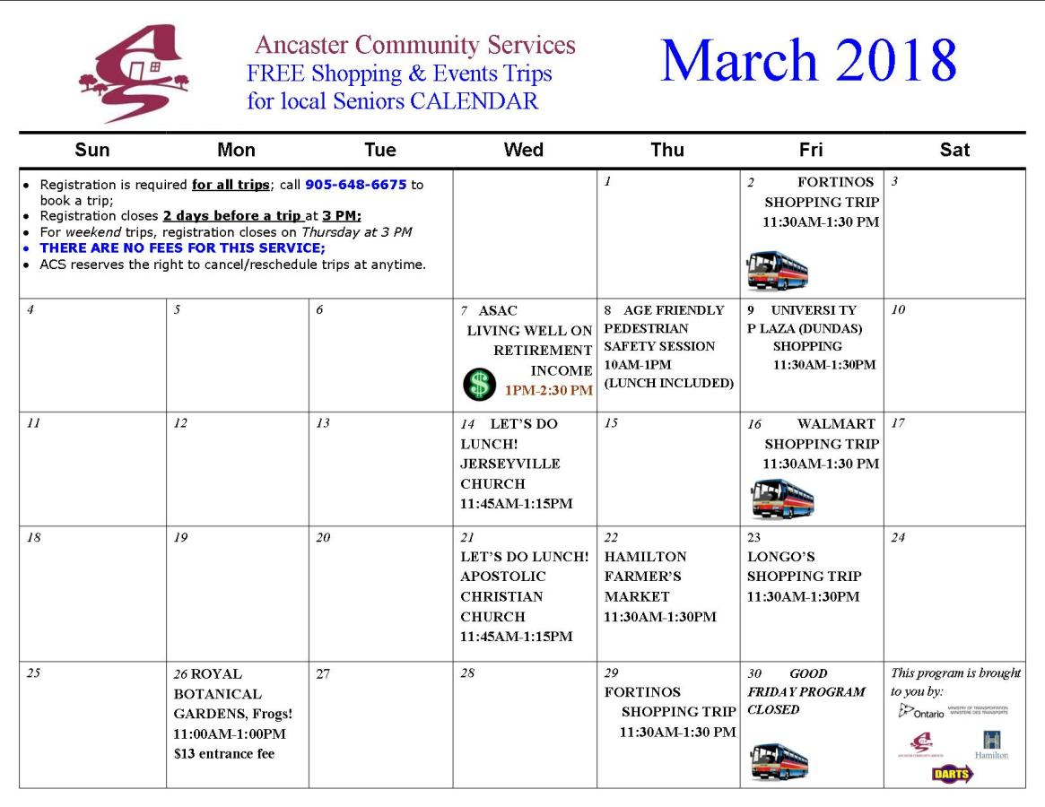 Community Shopping&Events TRIPS MAIN CALENDAR - 2018 MARCH