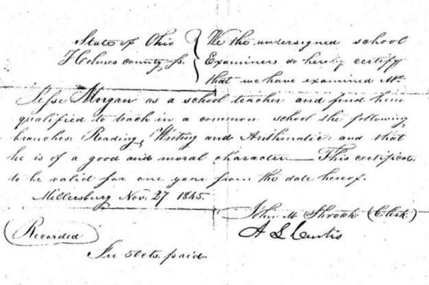 Teaching Certificate 1845