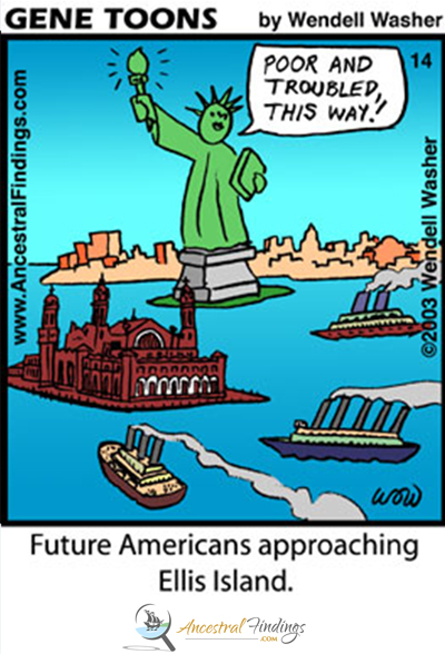 Future Americans Approaching Ellis Island (Genetoons Cartoon #14)