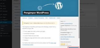 cara memindahkan blog wordpress import
