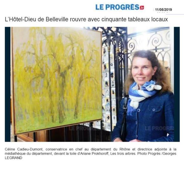 C'est Céline Cadieu-Dumont, conservatrice en chef au département du Rhône et directrice adjointe à lamédiathèque du Département, qui est charge de l'organisation de cette exposition. « Au total, c'est 450 œuvres qui ont été acquises par les différents élus du département du Rhône depuis les années 1950, et ils en acquièrent encore aujourd'hui. Nous en avons sélectionné une cinquantaine, le cœur même de notrecollection, ce sont des toiles d'artistes reconnus au niveau international, tels que Jean Couty, André et Jean Fusaro, et d'autres, encore vivants. Toutes ces œuvres qui ont forcément un lien avec le Rhône, nous les proposons aux communes qui souhaitent les mettre en valeur. ©Leprogres-11.05.2019