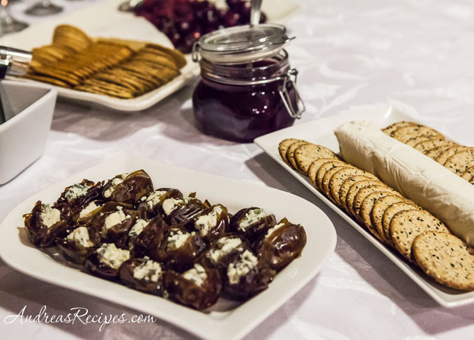 Andrea Meyers - Gorgonzola Stuffed Dates and Goat Cheese and Crackers with Plum Jam