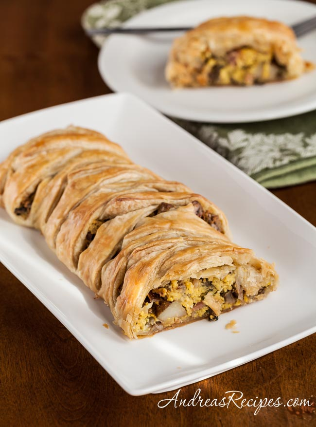 Andrea Meyers - Puff Pastry Breakfast Braid with Eggs, Ham, Potatoes, Mushrooms, and Goat Cheese