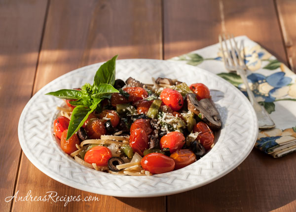 Linguine with Peppers and Roasted Grape Tomatoes - Andrea Meyers