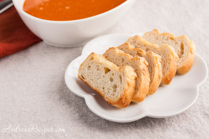 Andrea Meyers - Panera Asiago Demi toasts, with tomato soup