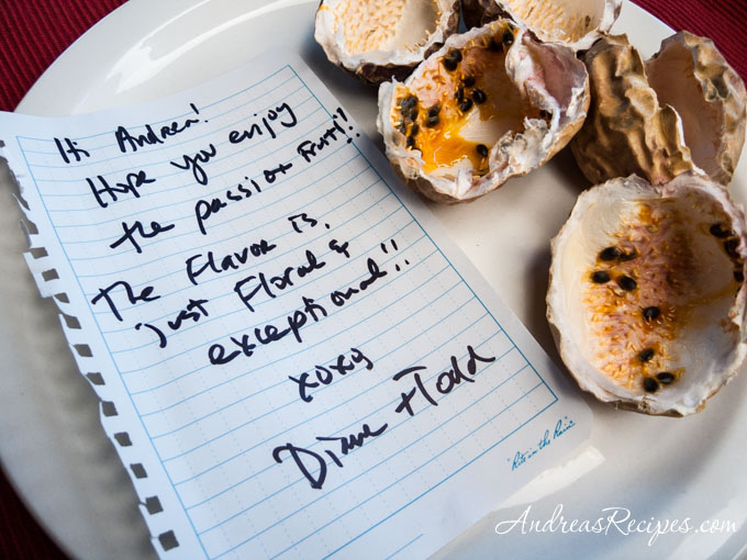 Andrea's Recipes - passion fruit note