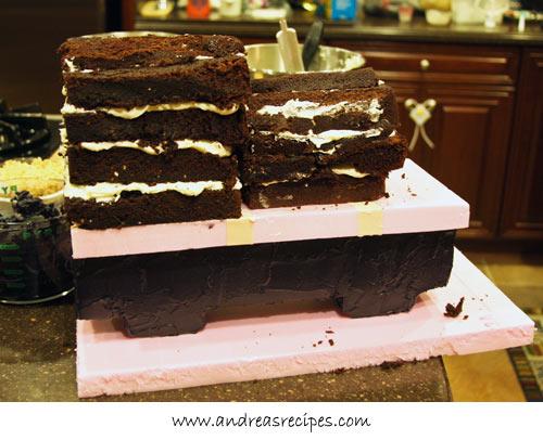 Andrea Meyers - Percy Train Birthday Cake, in progress