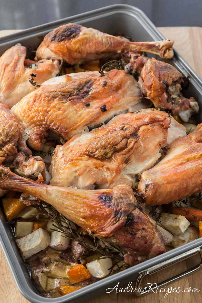 Andrea Meyers - Roasted Turkey with Root Vegetables and Gravy