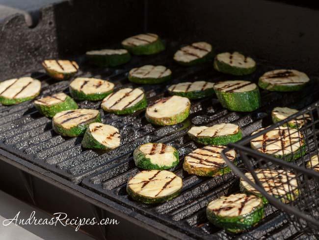 Andrea Meyers - Marinading sliced zucchini.