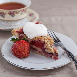 Strawberry Pie with Crumb Topping and Almond Whipped Cream - Andrea