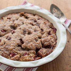 Whole Wheat Strawberry Rhubarb Coffee Cake Recipe - Andrea Meyers