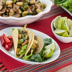 Mushroom and Zucchini Vegetarian Tacos Recipe - Andrea Meyers