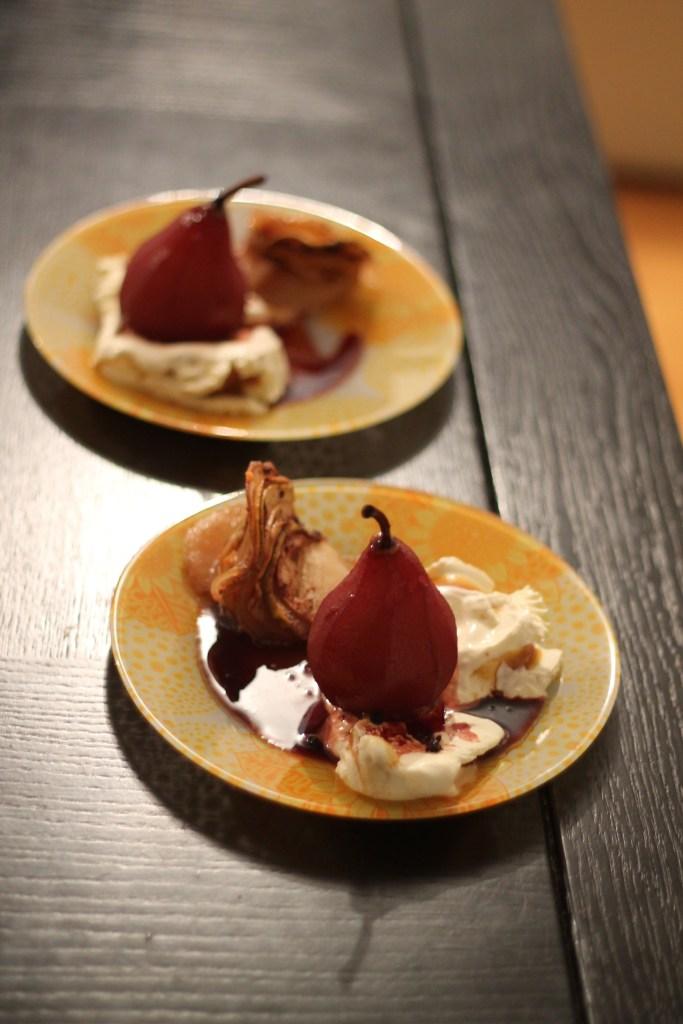 Pară în sos de vin, Appletouille și înghețată