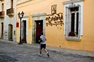 morning jogger in colonial Oaxaca