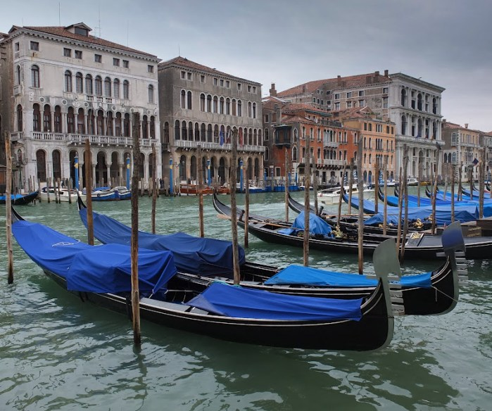 gondolas in Venice - iconic image of the Italian tourist town