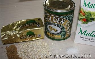 Ingredients: Salt, butter, oats, sugar, and golden syrup