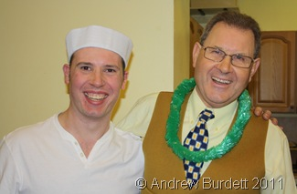 WAITER WAITER_Waiters Ben Darracott and Gerry Knight, in token costume, assisting at the church social.