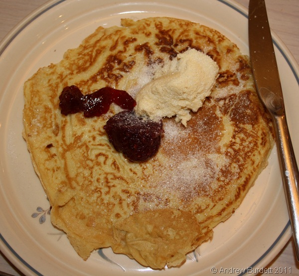 IN THE MOOD FOR FOOD_My sickly pancake, with jam, ice-cream, and sugar. Mmmmm!