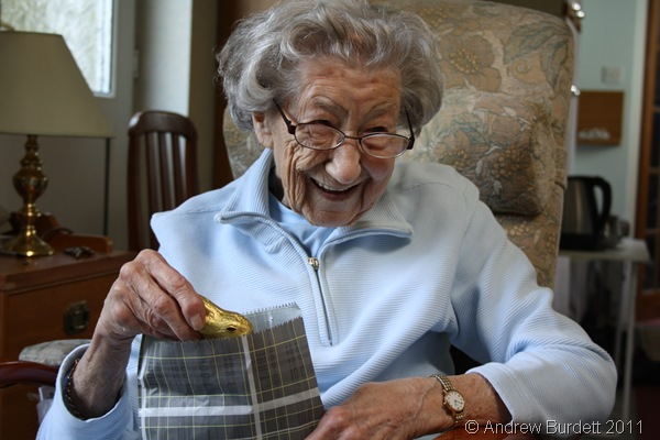 PRICELESS EXPRESSION_Dorothy seemed pleased with a small gift from our great aunt.