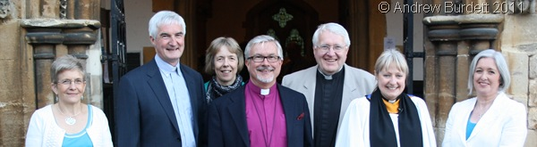 PHOTO CALL_Sally Lynch, second from right, with churchwardens, the area dean, the Bishop of Reading, and the archdeacon.