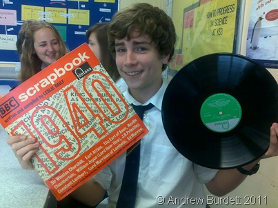 Sam Ralphs clutches a BBC Scrapbook: 1940 record disc that he saved from the skip during a clear-out of the History department's shelves.