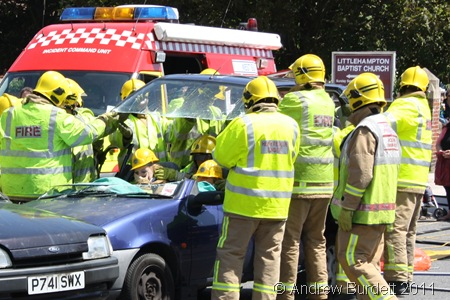 INSTANT CONVERTIBLE_Emergency services remove the top of a Fiesta during a demonstration.