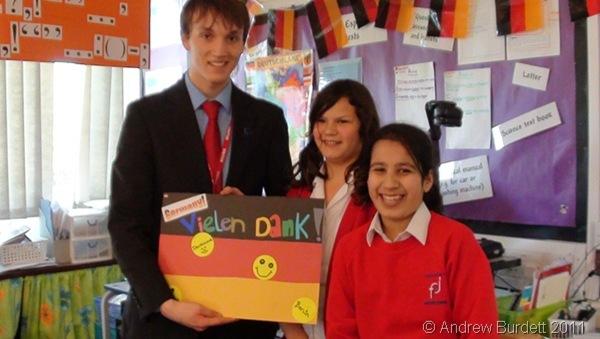 VIELEN DANK_Pupils give Ben Scrace a 'thank you' card after teaching them German
