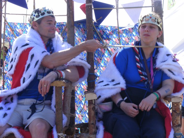 A BRUSH WITH ROYALTY_Unit leaders Simon and Kathryn try out the pioneering-pole thrones.