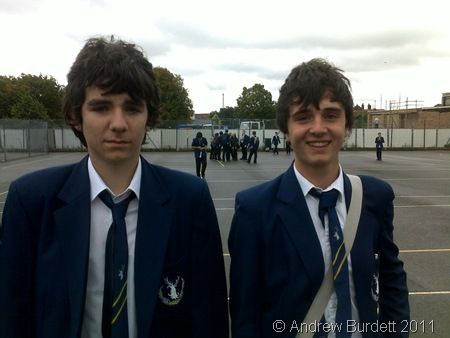 UNCANNY RESEMBLANCE_New boy Nathan stands next to body double Jack Clifton.