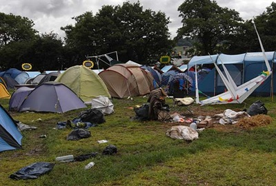 ABANDONED_Tents left behind after Glastonbury Festival in 2007.