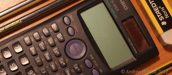 WEAPON OF CHOICE: My Casio fx-85ES calculator, as used in this exam. (IMG_8658)