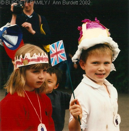 FLYING THE FLAG: A ten-year-younger version of myself, at a 2002 Golden Jubilee party. (June2002_GoldenJubileeBurchettsGreen)