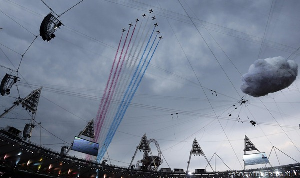 FLYPAST: The Red Arrows, after much pressure from the public, were allowed to fly over the Olympic Stadium last night.