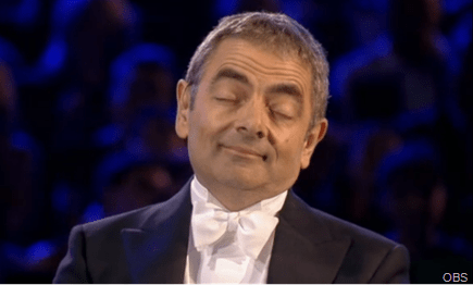 DOZING OFF: Mr Bean going to sleep.