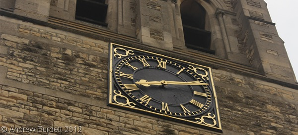 GOT THE TIME: St Luke's Church's clock tower at 8:12am this morning. (IMG_9671)