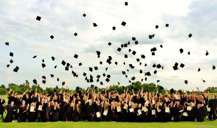 HATS IN THE AIR LIKE THEY JUST DON'T CARE: ...before I cued Year 11 to throw their caps in the air.