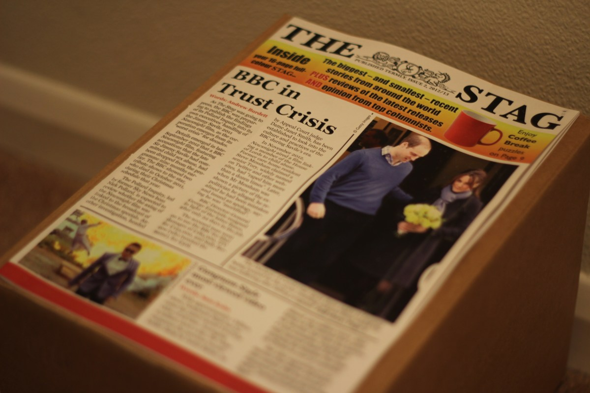 A box of copies of 'The Stag' magazine.