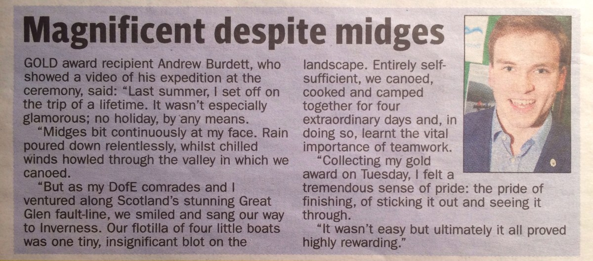 A photograph of the text-box, filled with Andrew Burdett's comments on my DofE Gold award expedition, taken from the Maidenhead Advertiser.