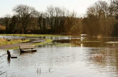 The grounds at Odney are submerged in water.