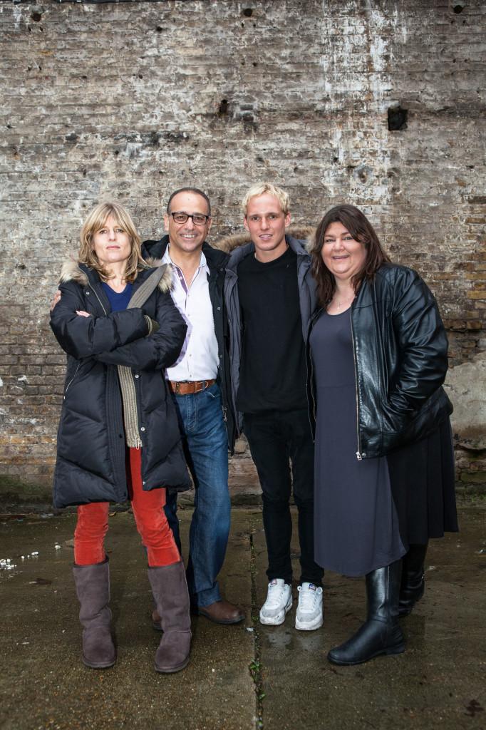 A photo of BBC documentary stars Rachel Johnson, Theo Paphitis, Jamie Lang, and Cheryl Furguson.