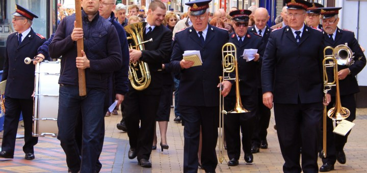Walking up Maidenhead High Street, the Salvation Army lead the Walk of Witness procession.