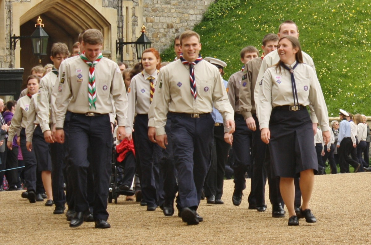 Andrew Burdett, centre, processes around the Quadrangle at Windsor Castle, at the end of the first half of the afternoon.
